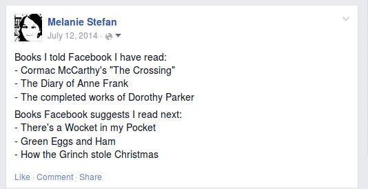 Facebooks thinks I should read Childrens' Books